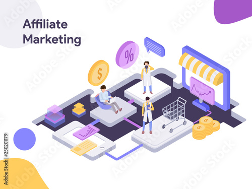 Online Shopping Affiliate Marketing Isometric illustration