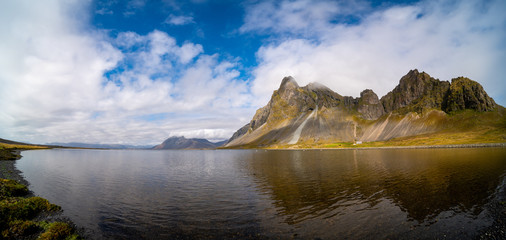 Panorama of the sea and mountains in Iceland