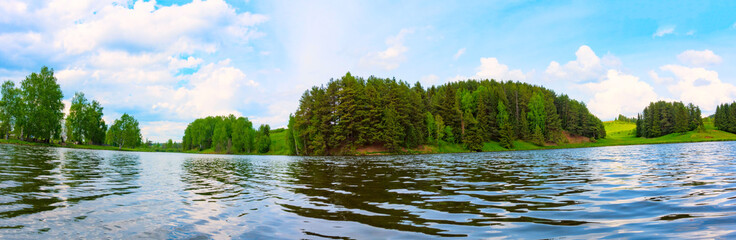 Panorama of summer landscape on the lake , Russia