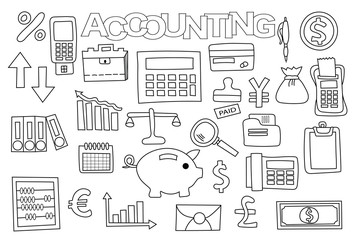 Accounting and management set of icons and objects. Hand drawn doodle business design concept. Black and white outline coloring page game. Monochrome line art. Vector illustration.