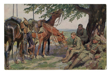 """Old German postcard: """"Three friends"""" Cavalry hussars on a halt in the shade of a tree. One smokes a pipe. The other feeds the horse. world war I 1914-1918, Germany"""