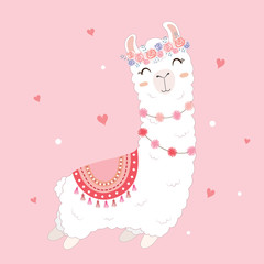 valentine's day card featuring a cute llama.