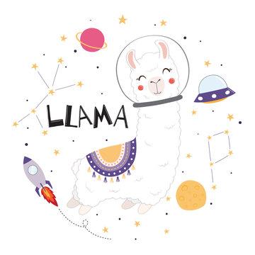 Cute llama in space.