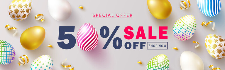 Happy Easter Sale banner.Beautiful Background with colorful eggs and golden serpentine. Vector illustration for website , posters,ads, coupons, promotional material