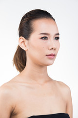 Asian Woman after applying make up hair style. no retouch, fresh face with acne, lips, eyes, cheek, nice smooth skin. Studio lighting white background, for aesthetics therapy treatment