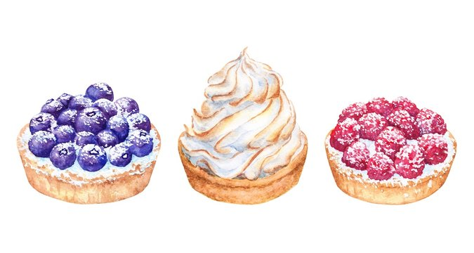 Set of watercolor cakes with white cream, blueberry and raspberry. Beautiful sweet dessert on white background. Nice for card, postcard, cover, invitation, wedding, birthday, menu, recipe.