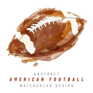 American football ball hand drawn watercolor illustration