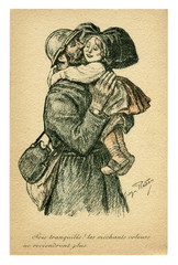 French historical postcard: the soldier kisses and hugs a little girl in the traditional dress of Alsace and Lorraine. Return home. Victory! Symbolism. world war one 1914-1918. France