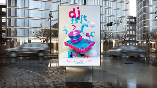 dj music festival advertisement on billboard on city downtown