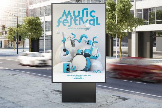 music event poster billboard on city street