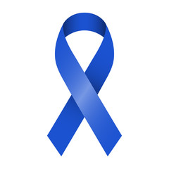 Blue ribbon vector illustration for support and awareness campaigns. Symbol of Colorectal and colon cancer.