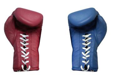 Fototapeta two boxing glove on a white background close up obraz