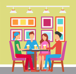 Friends gathered in bar drinking beer pint vector. Man and woman having fun at pub with colorful interior. design of place to eat and have beverage