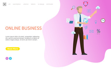 Online business web poster, man arranging icons. Globe in hands, cloud storage and message mail, clock and files folder, percentage sign and lock vector. Website or webpage template landing page flat