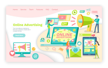 Online advertisement vector, website or webpage template, landing page flat style. Laptop for business and product promotion, megaphone and mobile phone