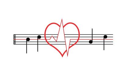 Das Herz schlägt für Musik - Musiknoten mit Herz und Herzschlag