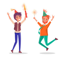 Cartoon men celebrating birthday party. Redhead bearded man merrily jump, fireworks in hand. Happy male in festive hat and sparkler leap of joy, vector
