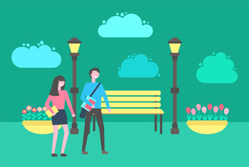 People walking in park vector, benches and lanterns, flower bed with plants, outdoors activities. Street with place to sit, couple man and woman strolling
