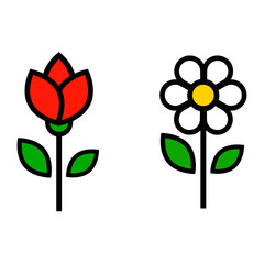 cartoon cute chamomile and tulip vector