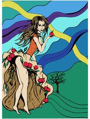Apple Tree Concept Woman Abstract Vector