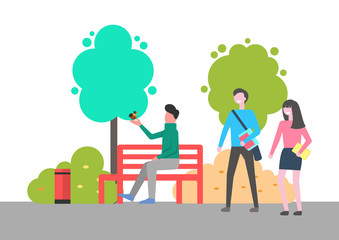 Man sitting on bench vector, male holding bird on hand spending time in park. Outdoors activities, natural environment with trees and leafy plants