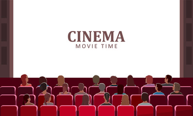 Cinema movie time vector, people sitting in seats at hall. Big screen sheet with title, man and woman in romantic atmosphere enjoying film on monitor