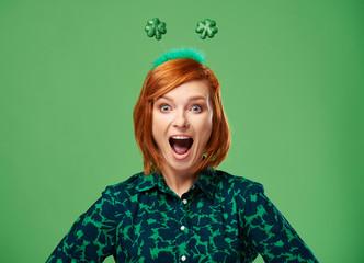 Portrait of screaming woman in studio shot