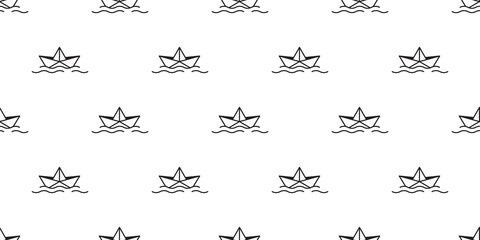 boat seamless pattern vector origami scarf isolated yacht anchor helm nautical maritime tile background repeat wallpaper illustration