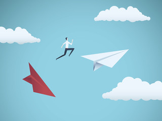 Businessman jumping between paper planes. Business symbol or metaphor for risk, danger, change, escape or bankruptcy and bailout.