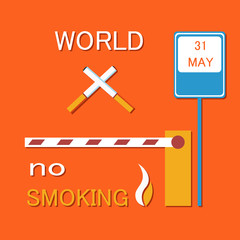 World no smoking poster with two crossed cigarettes, barrier and road sign forbidden nicotine usage vector illustration restricting tobacco smoke