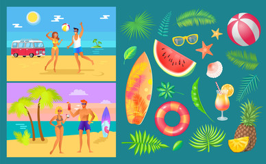 Summer party by beach set vector. People playing volleyball and drinking cocktails. Lifebuoy and watermelon, surfboard and sunglasses, inflatable ball