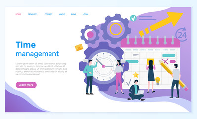 Time management online web page with organizer vector. Men and women compose business schedule, wall clock, success element and productive work arrangement. Website or webpage template landing page