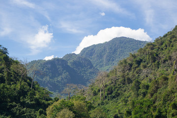Scenic view landscape of mountains in Northern Thailand.