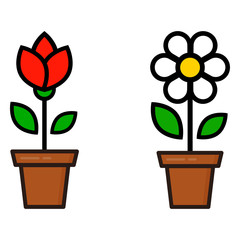 cartoon cute chamomile and tulip in a pot vector