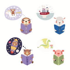 Printed roller blinds Illustrations Big set with cute animals reading different books. Isolated objects on white background. Hand drawn vector illustration. Scandinavian style flat design. Concept children print, learning, imagination.