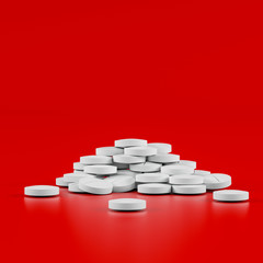 Different pharmaceutical medicine pills, tablets and capsules on red background. Health care concept. 3D render illustration.