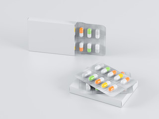 Package blister with different colour medicines pills capsules on gray background. Mock up template. 3d render illustration