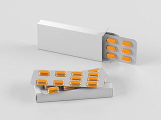Package blister with oval orange medicines pills on gray background. Mock up template. 3d render illustration