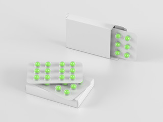 Package blister with round green medicines pills on gray background. Mock up template. 3d render illustration