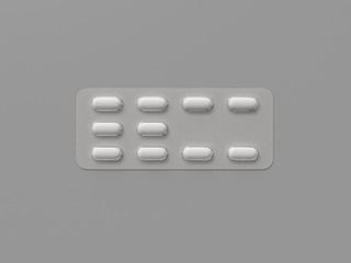 Pharmaceutical blister medicine pill on gray background. Health care concept. 3D render illustration.