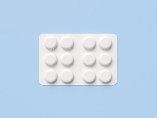 Pharmaceutical blister medicine pill on blue background. Health care concept. 3D render illustration.