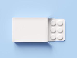 Pharmaceutical medicine pill on blue background. Health care concept. 3D render illustration.