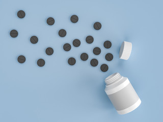 Scattered parmaceutical medicine pill tablets on the blue background of an empty white plastic can. Mock up template. Health care concept. 3d render illustration