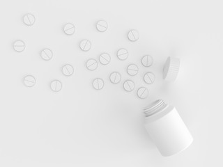 Scattered parmaceutical medicine pill tablets on the gray background of an empty white plastic can. Mock up template. Health care concept. 3d render illustration