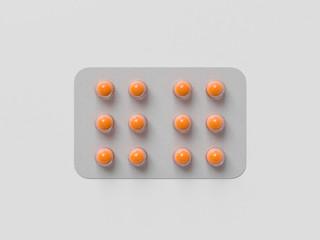 Pharmaceutical blister medicine pill on white background. Health care concept. 3D render illustration.