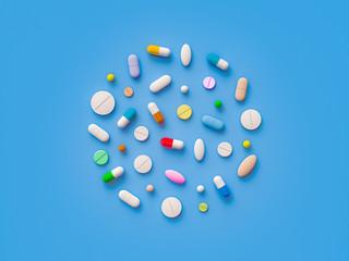 Scattered parmaceutical medicine pill tablets on the blue background. Mock up template. Health care concept. 3d render illustration
