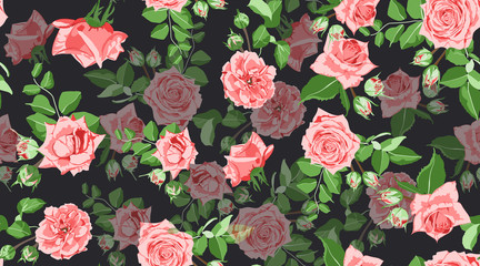 Roses Seamless Pattern in Vintage Style.