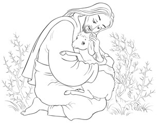 History of Jesus Christ. The Parable of the Lost Sheep. The Good Shepherd Rescuing a Lamb Caught in Thorns Coloring Page