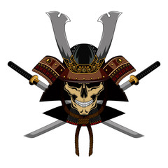 Samurai skull in a helmet with swords. Color vector image on a white background.