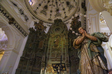 interior of church altar retable with angel